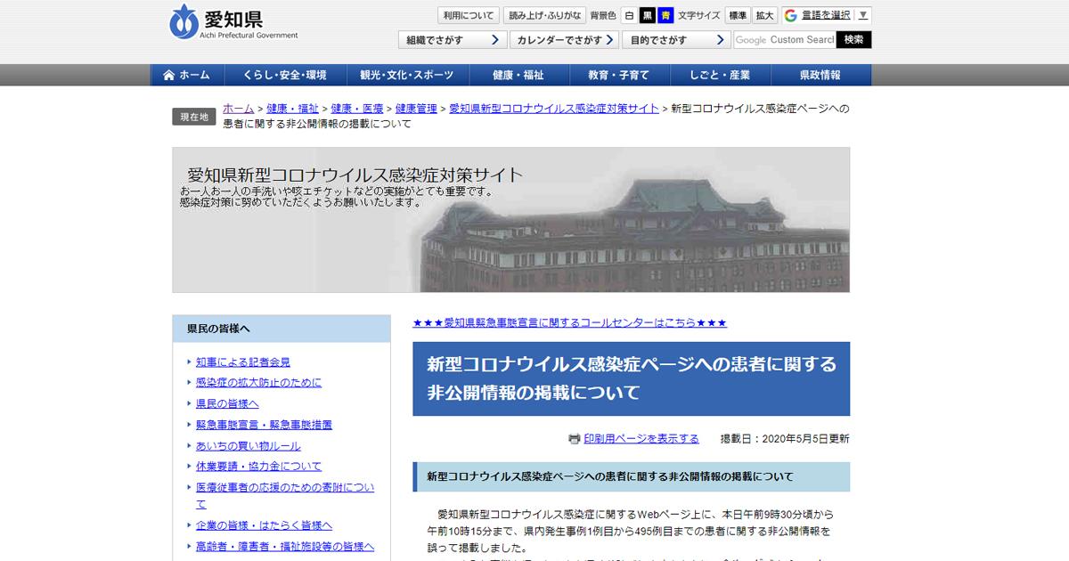 新型コロナウイルス感染症ページへの患者に関する非公開情報の掲載について - 愛知県