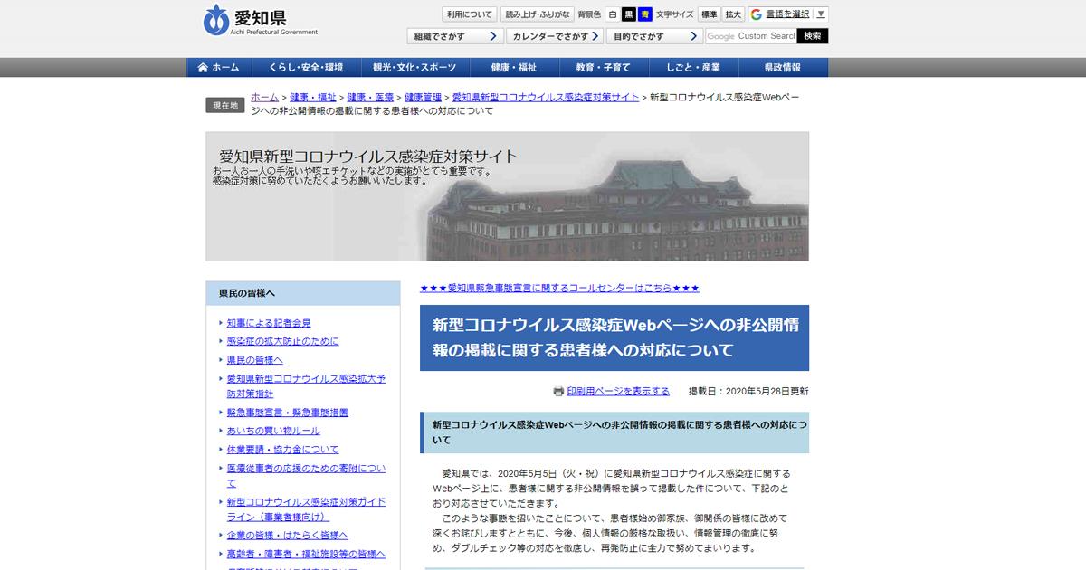 新型コロナウイルス感染症Webページへの非公開情報の掲載に関する患者様への対応について - 愛知県
